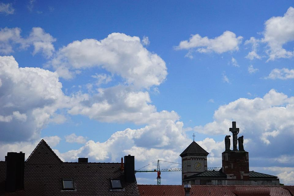 Sky, Blue, Clouds, White, City, Homes, Roofs, Church