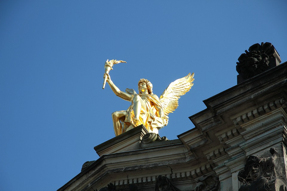 Golden Statue, Golden, Sculpture, Statue, Rooftop