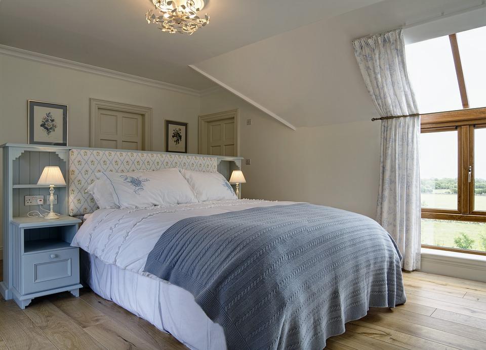 Interior, Bedroom, Lamp, Bed, Furniture, Home, Room