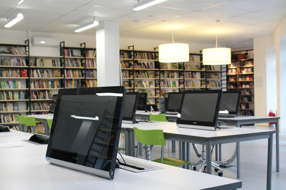 Computer, Monitor, Lamp, Library, Table, Room, Class