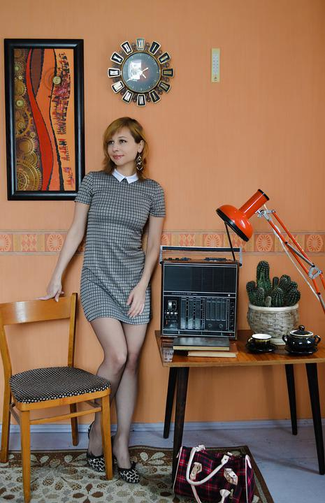 Woman, Fashion, 1960s, Interior, Room, Furniture, Radio