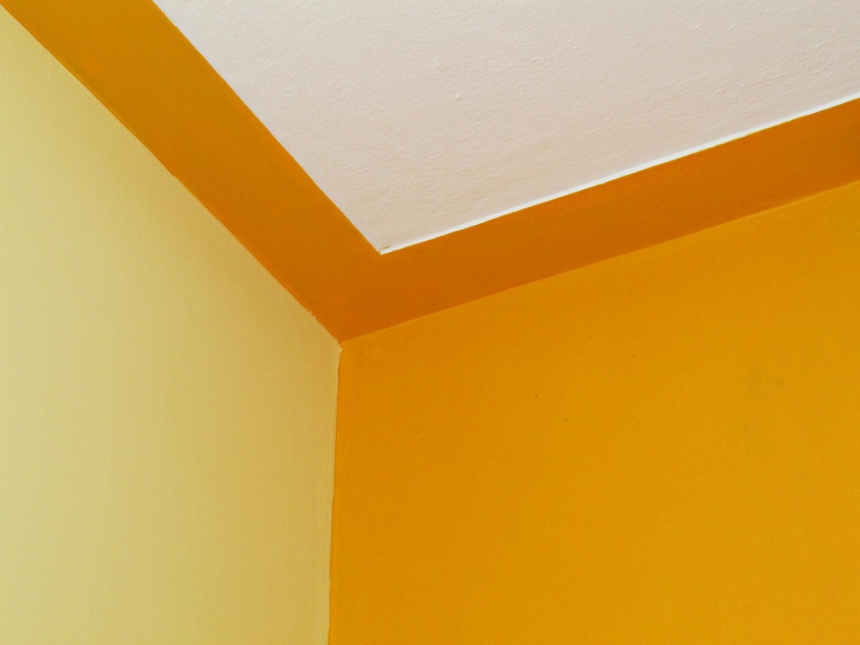 Edge Room Wall Ceiling Color Combination Yellow