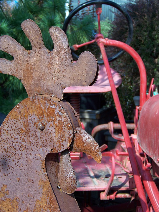 Rust, Metal, Iron, Old, Rooster, Farm, Rustic, Tractor