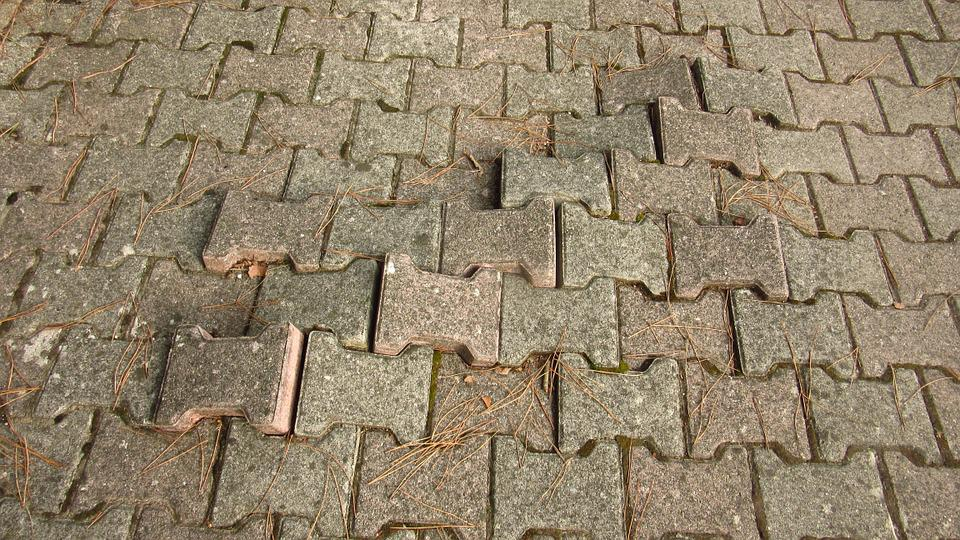 Patch, Concrete Brick, Broken Up, Root, Force, Paving