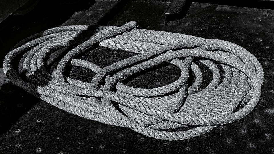 Rope, Black And White, Monochrome, Ropes