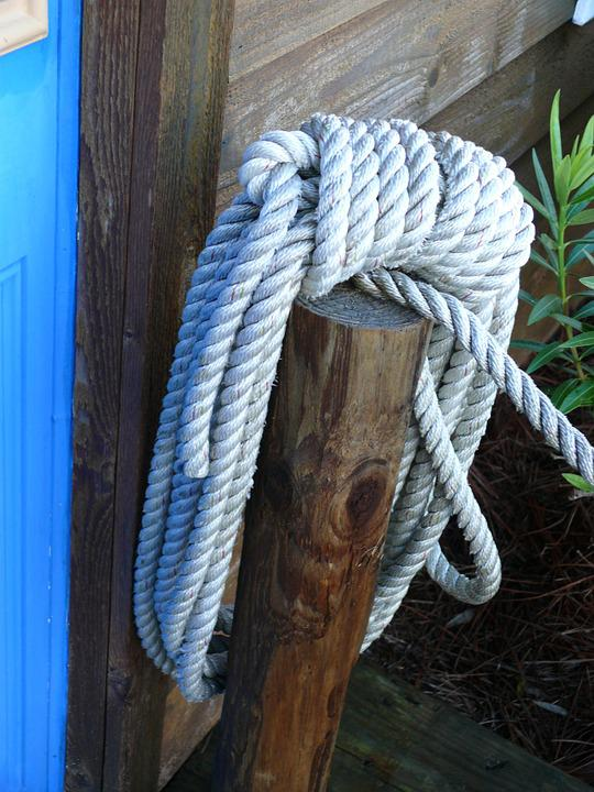 Rope, Pier, Wood, Marine, Nautical, Knot, Line, Tied
