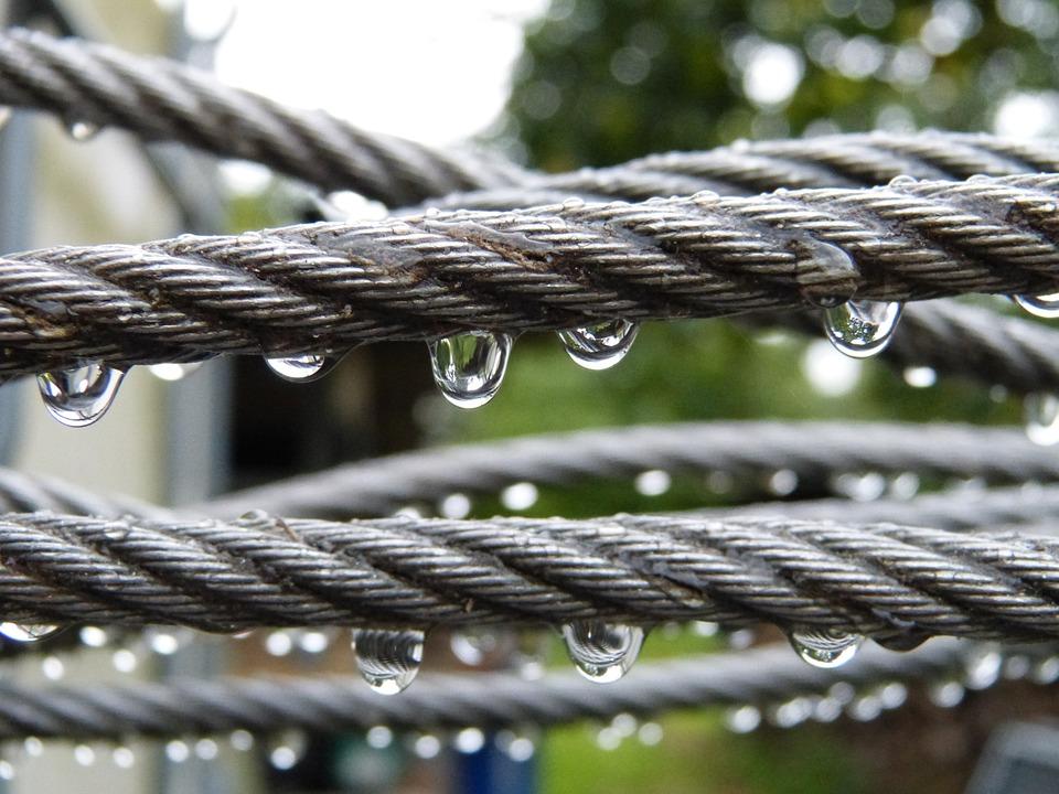 Rain, Water, Drip, Drop Of Water, Wire, Rope, Steel