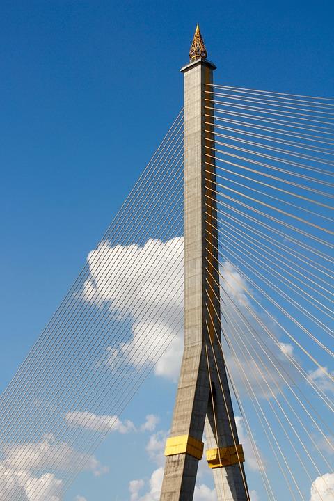 Bridge Piers, Sky, Clouds, Blue, Ropes, Voltage