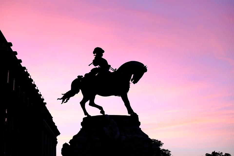 Horse, Statue, Backlight, Rosa, Sky, Sunset, Romance