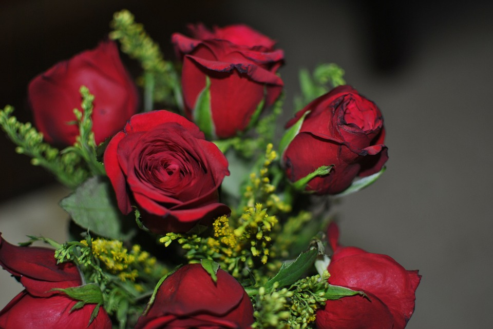 Rose, Flower, Red, Green, Love, Decoration, Bunch