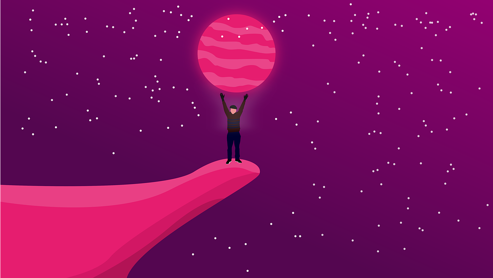 Space, Pink, Fairy, Rose, Moon, Man, Cosmos