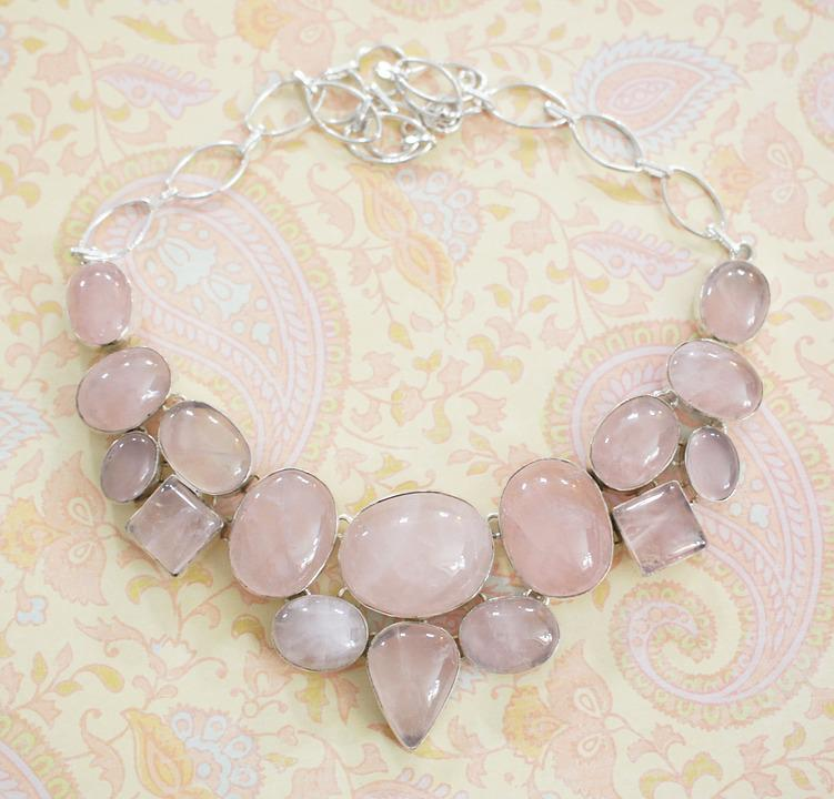 Rose Quartz, Stone, Necklace, Choker, Silver, Sterling