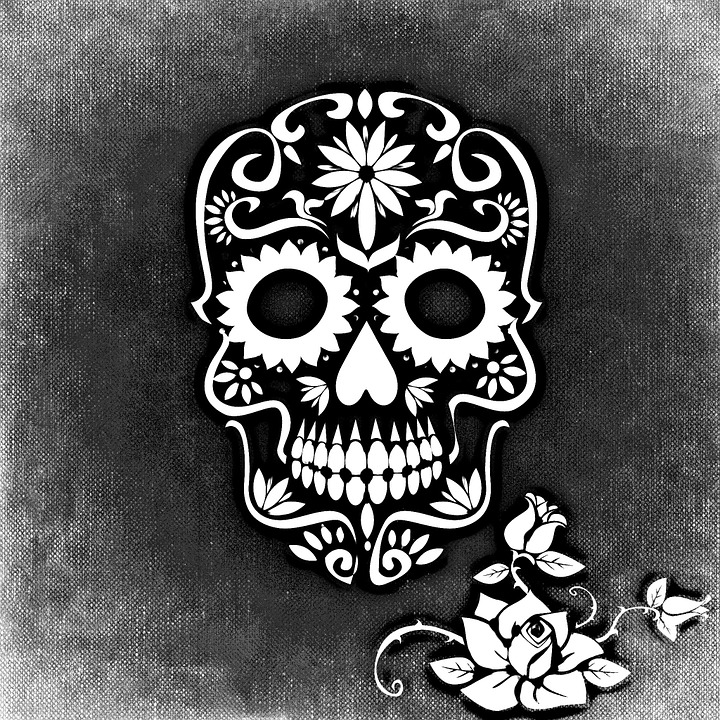 Skull And Crossbones, Rose, Background, Black And White