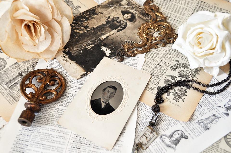 Vintage, Antique, Rose, Flower, Jewelry, Paper