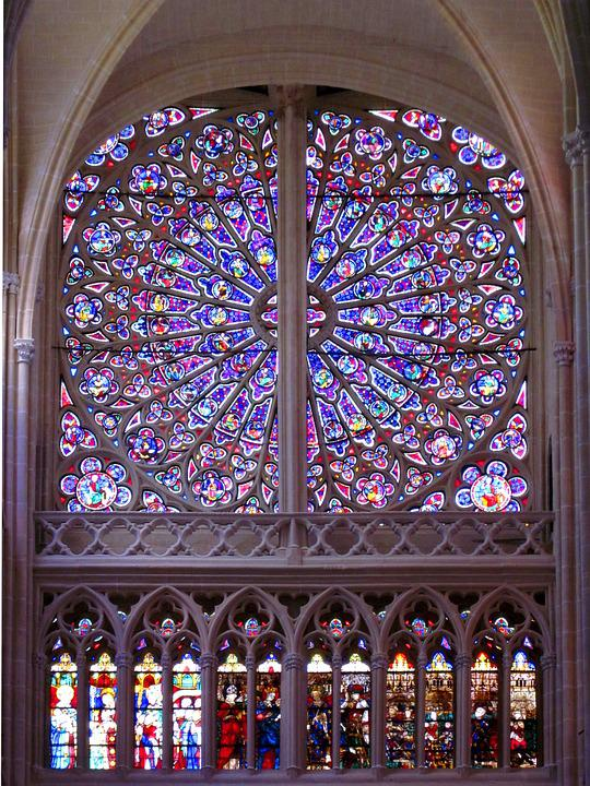 Rose Window, St Gatien Cathedral, Gothic, Stained Glass