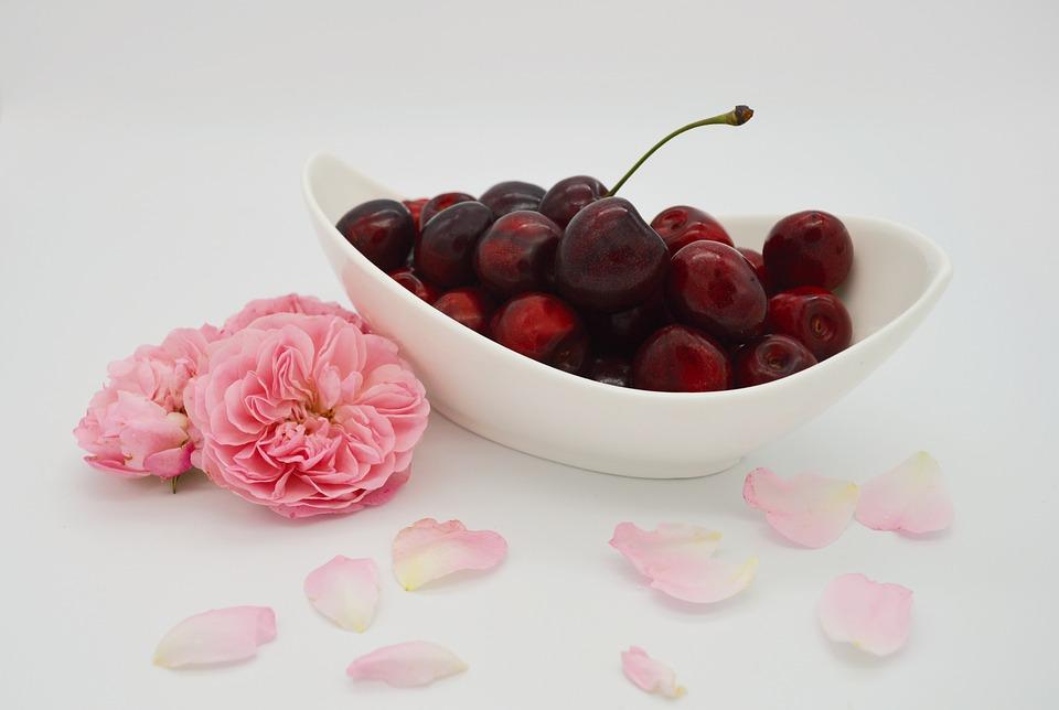 Cherries, Sweet Cherries, Shell, Roses, Rose Petals