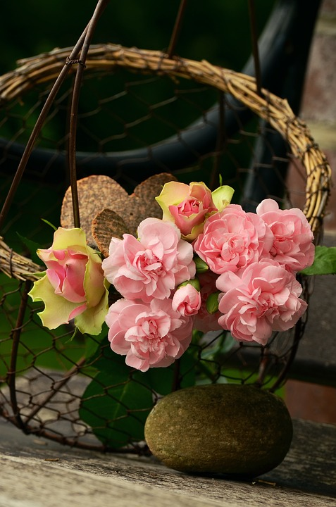 Bouquet, Floral Greeting, Cloves, Roses, Heart