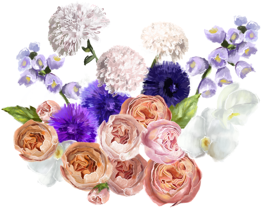 Flowers, Bouquet, Roses, Drawing, Digital Art, Cutout
