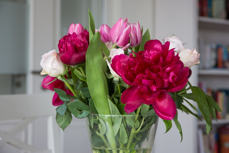Flowers, Peony, Tulips, Roses, Bouquet, Colorful
