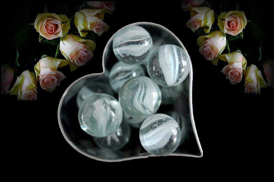 Valentine's Day, Heart, Roses, Glass, Glass Ball