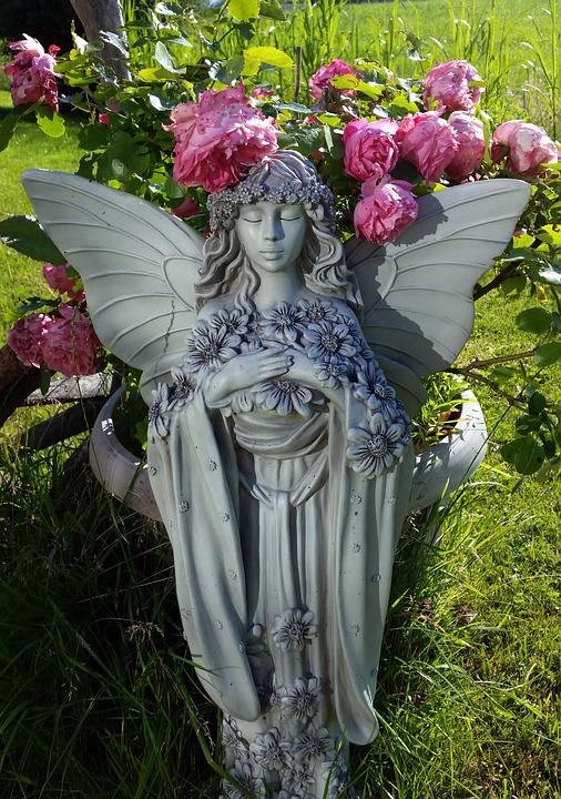 Garden Fairy, Roses, Fig, Stone Figure, Elves, Romantic
