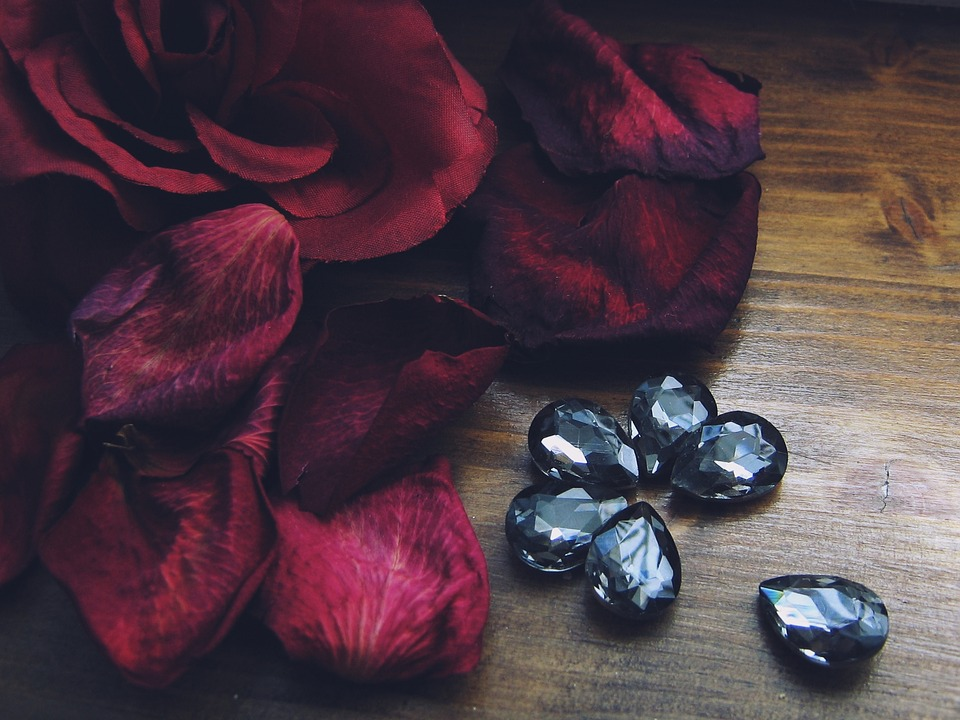 Roses, Flowers, Dried, Crystals, The Stones, Tears