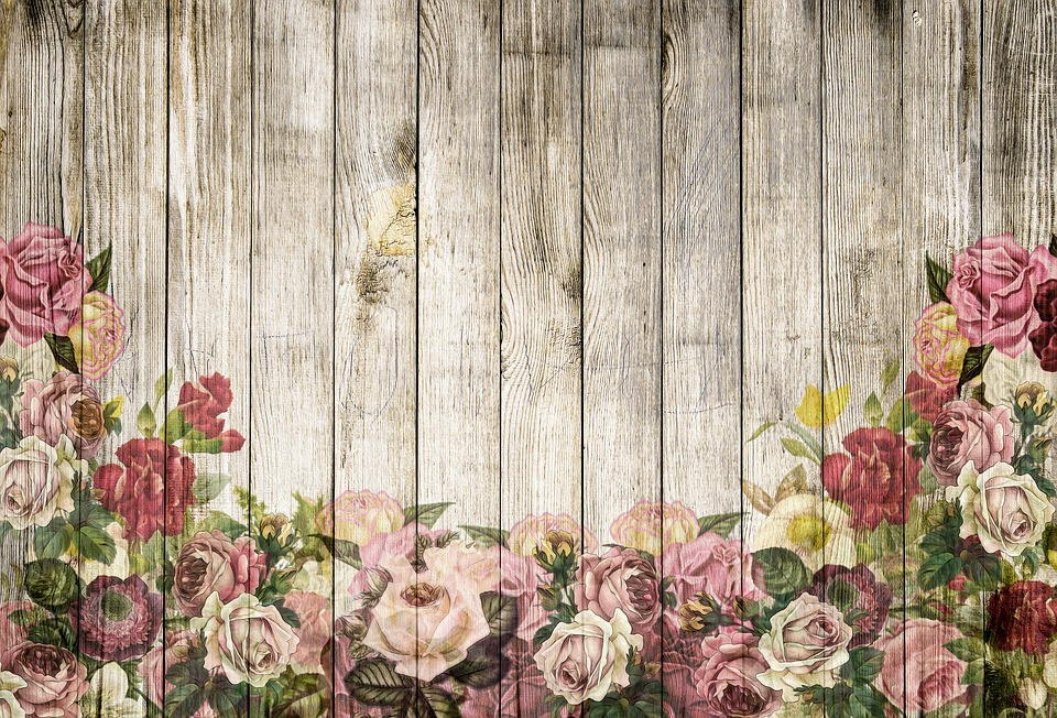 Wooden Wall Roses Background Vintage Shabby Chic