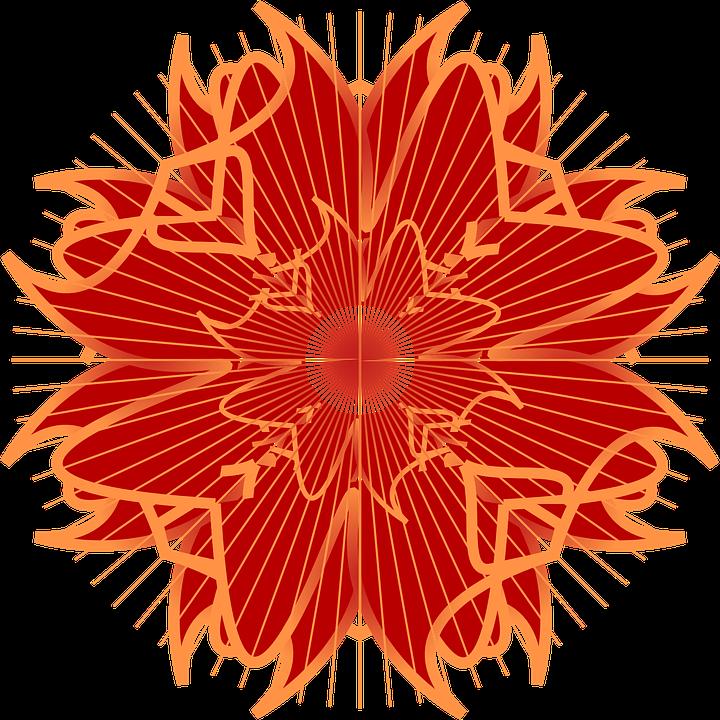 Rosette, Symmetry, Ornament, Decorative, Red