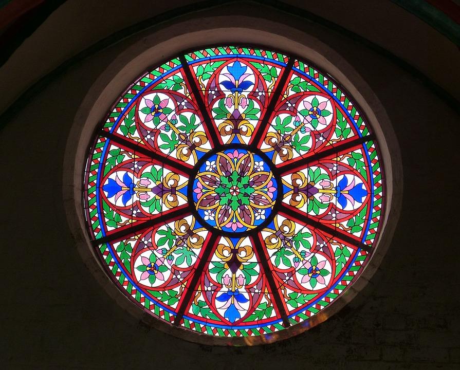 Church Window, Window, Rosette, Glass Window