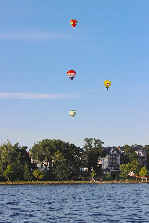 Ballons, Hot Air Balloon, Water, Rostock, Take Off