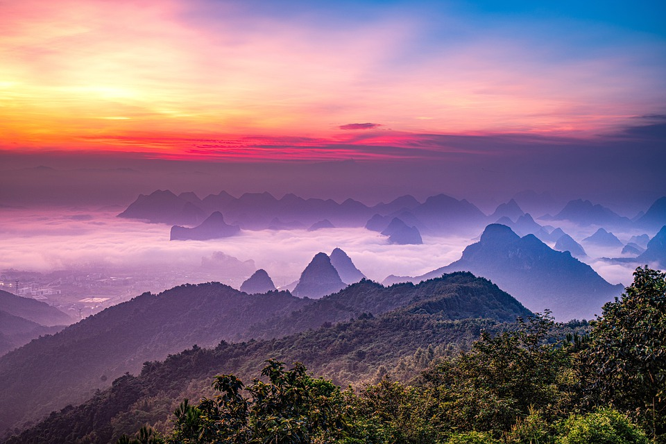 China, Guilin, Sunrise, Rosy Clouds, The Scenery