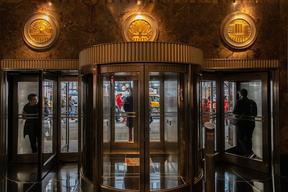 Entrace, Rotating Door, Building, Empire State Building