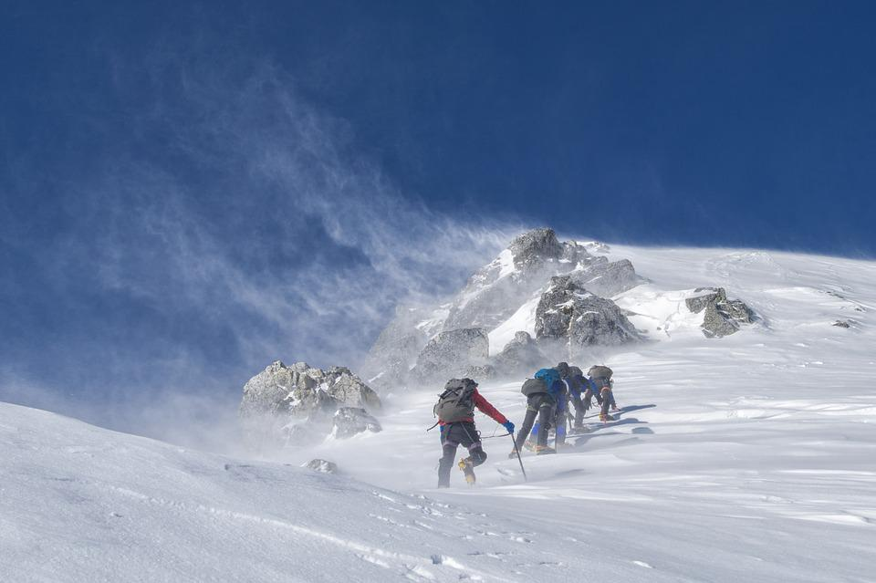 Mountaineering, Climbers, Storm, Rough, Cold, Wind