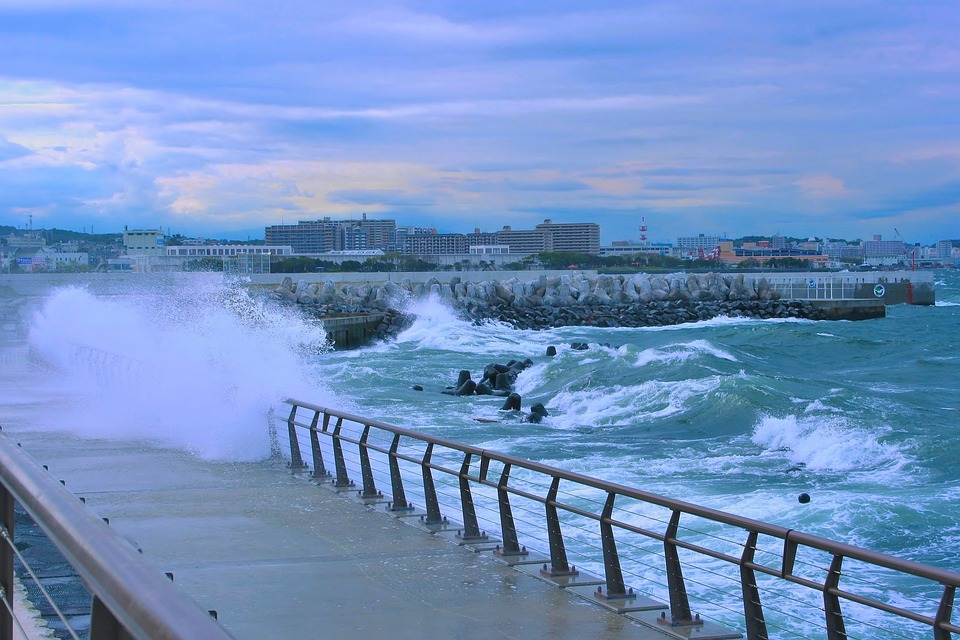 Typhoon, Sea, Storm, Evening, Big Waves, Rough Seas