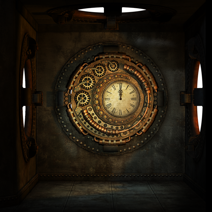 Steampunk, Box, Room, Round, Window, Hole, Metal