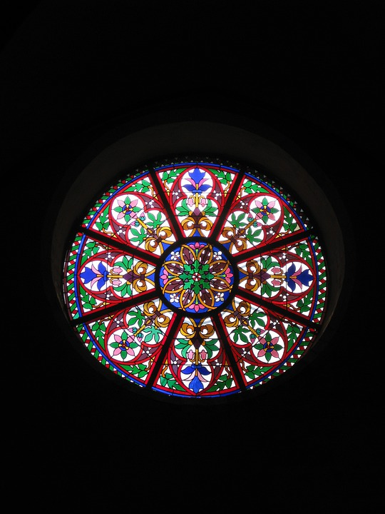 Church Window, Stained Glass, Architecture, Round