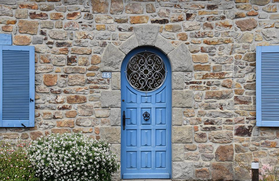 House Gate, Round Door With Stained Glass Window