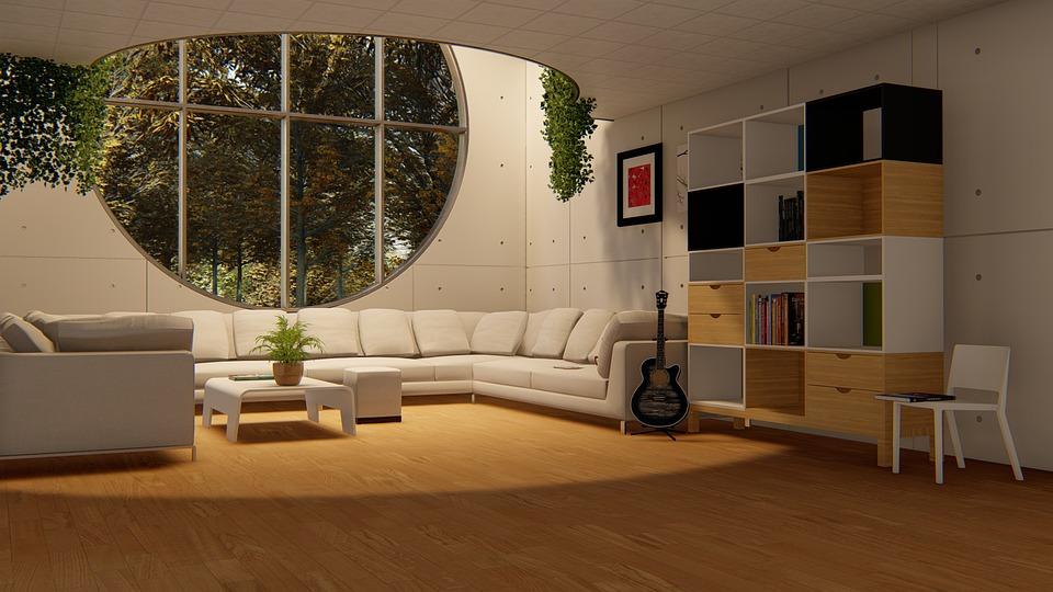 Round Window, Living Room, Sofa Set, Drawing Room
