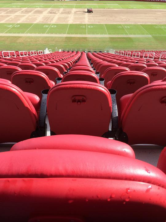 Stadium Seats, Red, Stadium, Football, Empty, Row
