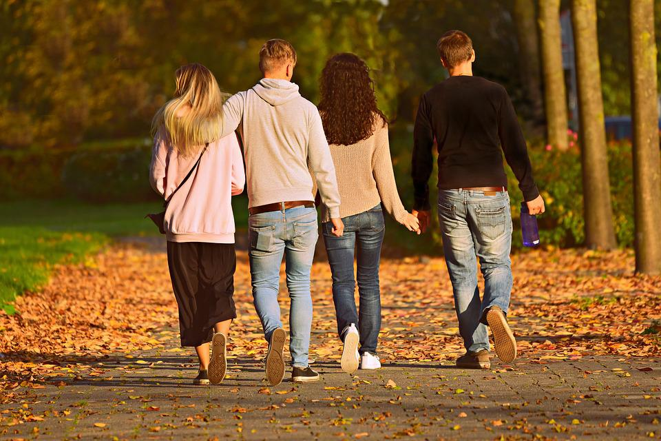 People, Man, Woman, Walking, Together, Four, Row