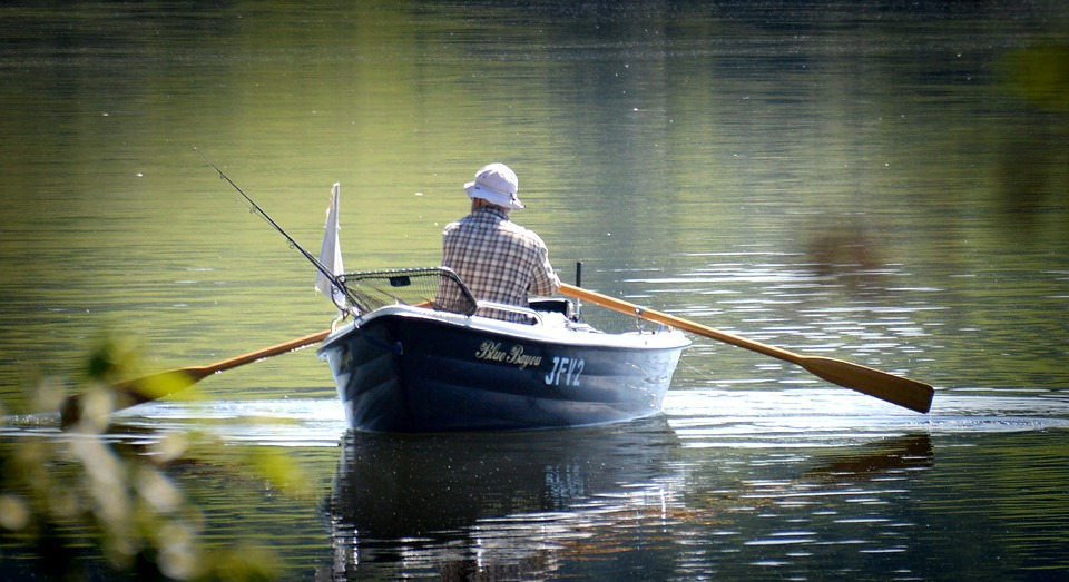 Rower, Angler, Rowing Boat, Boot, Empty, Blue, Sea