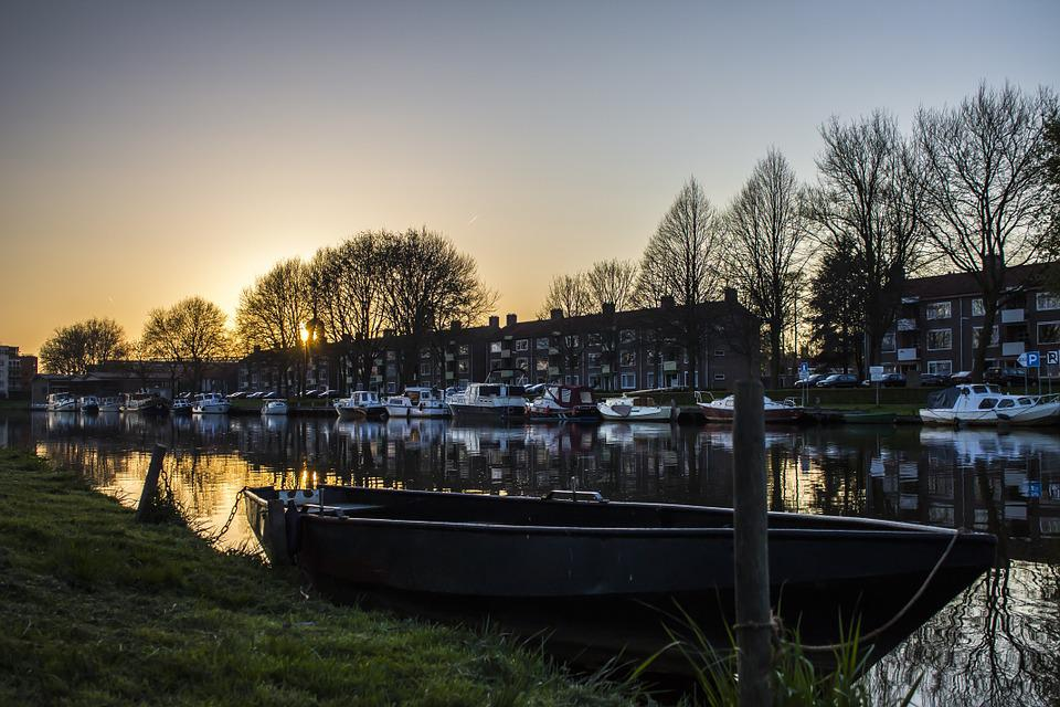 Boat, Water, Sunset, Rowing, Nature, Air, Trees
