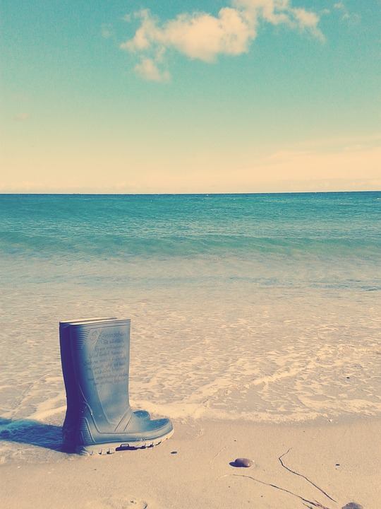 Sea, Rubber Boots, Weather, Beach, Sand, Ocean, Boots