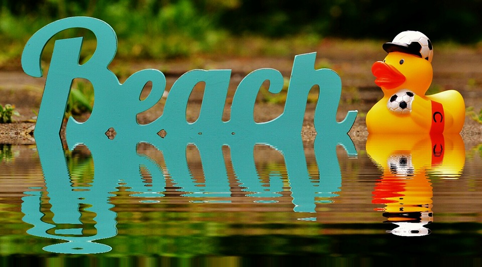 Beach, Water, Bank, Mirroring, Font, Rubber Duck