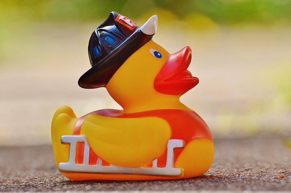 Rubber Duck, Bath Duck, Fire, Quietscheente