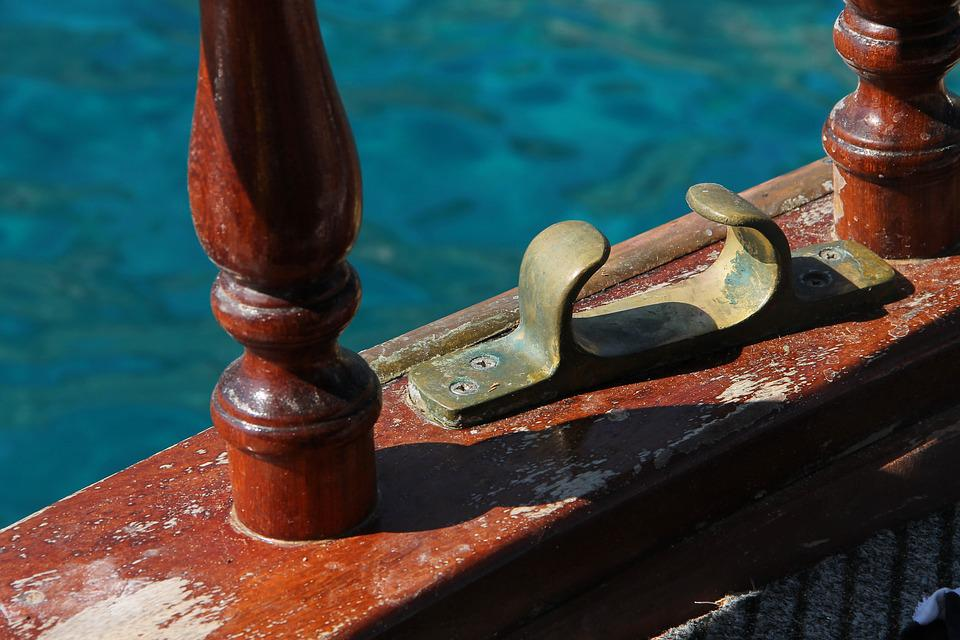 Rowing Dolle, Rudder Fork, Ship, Brass, Wooden Ship