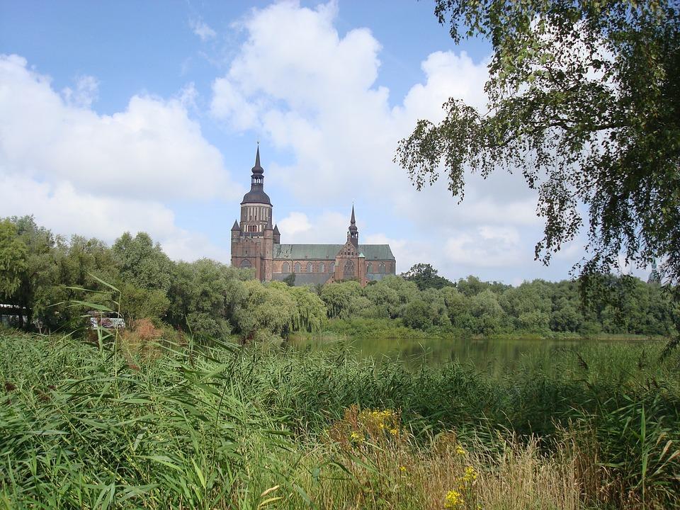 Church, Germany, Landscape, Sky, Blue, Stralsund, Rügen