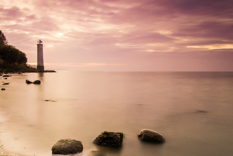 Lighthouse, Sunset, Rügen, Lighting