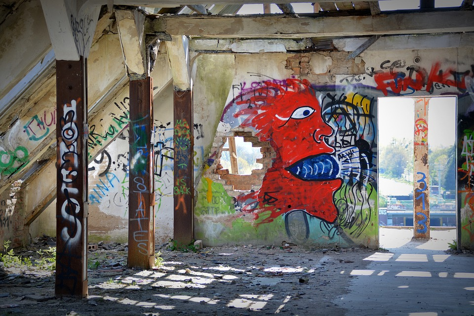 Lost Places, Graffiti, Ruin, Industrial Building, Leave