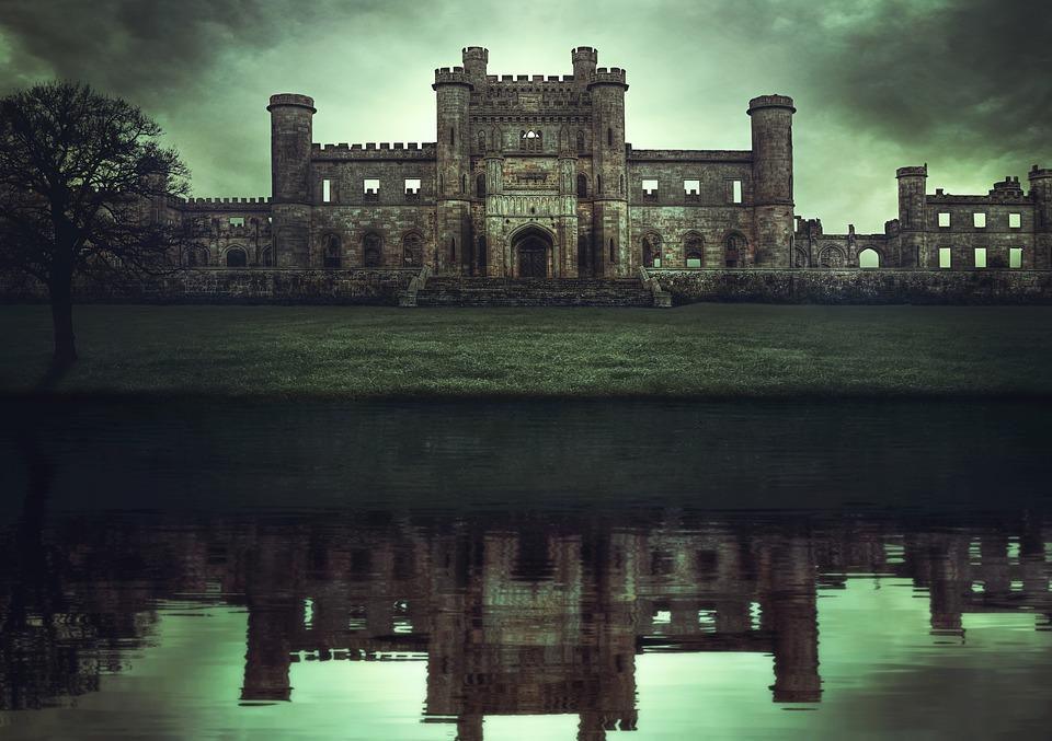 Castle, Ruin, Lake, Tree, Reflection, Water, Meadow